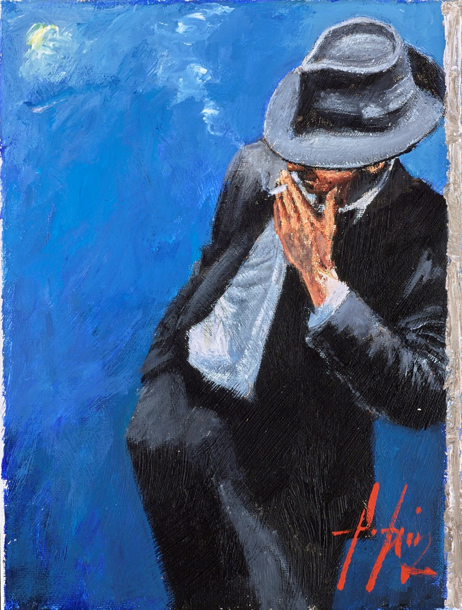 Man in Black Suit (With Cigarette) by fabian perez -  sized 9x12 inches. Available from Whitewall Galleries